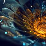 fractal albastru galben