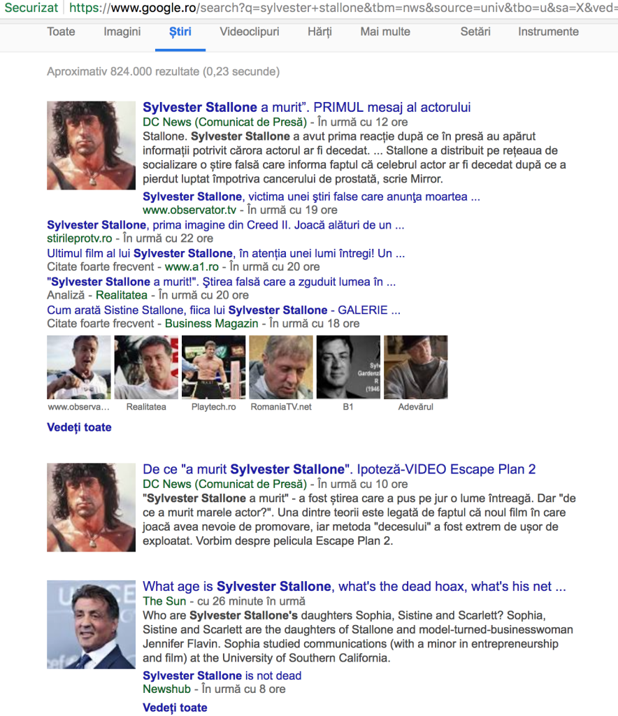 Sylvester-Stallone-Hoax-Google -results